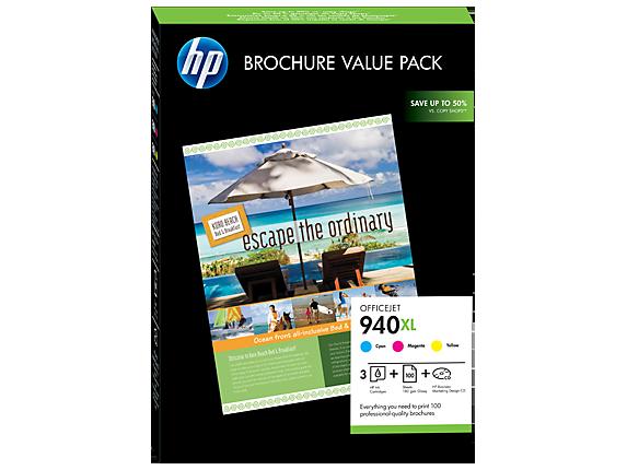 HP 940XL Officejet-brochureværdipakke, 100 ark/210 x 297 mm