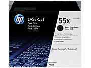Paquete doble de cartuchos de tóner HP 55X LaserJet, negro