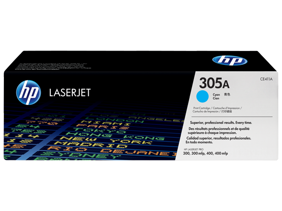 HP 305A Cyan Original LaserJet Toner Cartridge (CE411A