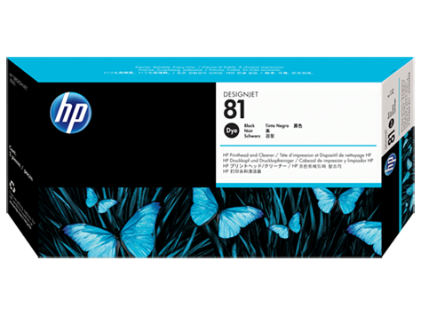 HP 81 Black Dye Printhead and Printhead Cleaner