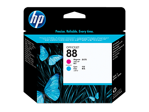 Пурпурная и голубая оригинальная печатающая головка HP 88