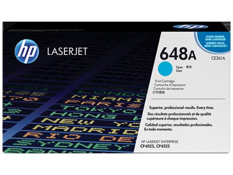 Cartucho original de tóner cian HP 648A LaserJet