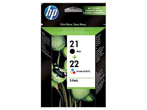 Pachet cu 2 cartuşe de cerneală originale HP 21 Negru/22 Tri-color