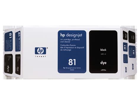 HP 81 Value Pack 680-ml Black Dye Ink Cartridge and Printhead