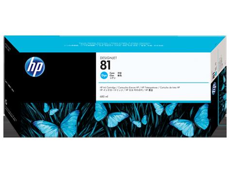 HP 81 680-ml Cyan Dye Ink Cartridge