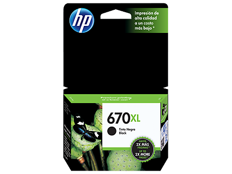 Cartucho de tinta preto de alto rendimento HP 670XL Advantage original