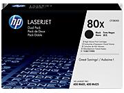 Paquete de dos cartuchos de tóner negro HP 80X LaserJet