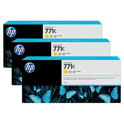 HP 771C 3-pack 775-ml Yellow DesignJet Ink Cartridges