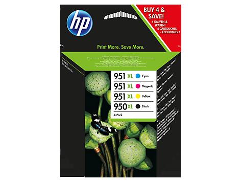 Conjunto de Tinteiros HP Originais 950XL Preto e 951XL Ciano/Magenta/Amarelo