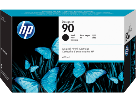 HP 90 Schwarz DesignJet Tintenpatrone, 400 ml