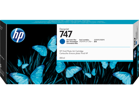 HP 747 300-ml Chromatic Blue DesignJet Ink Cartridge