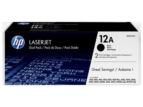 HP 12A, Упаковка 2шт, Оригинальные лазерные картриджи HP LaserJet, Черные