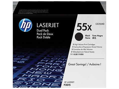 HP 55X, Упаковка 2шт, Оригинальные лазерные картриджи HP LaserJet увеличенной емкости, Черные