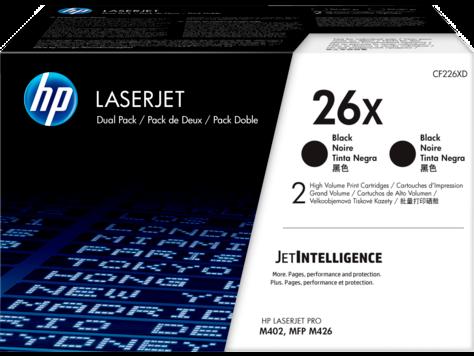 HP 26X, Упаковка 2 шт., Оригинальные лазерные картриджи HP увеличенной емкости, Черные